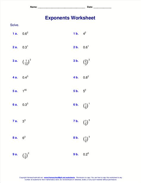 Negative And Fractional Exponents Worksheet printables negative exponents worksheet ronleyba
