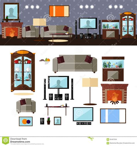 home design elements living room interior with furniture vector stock vector