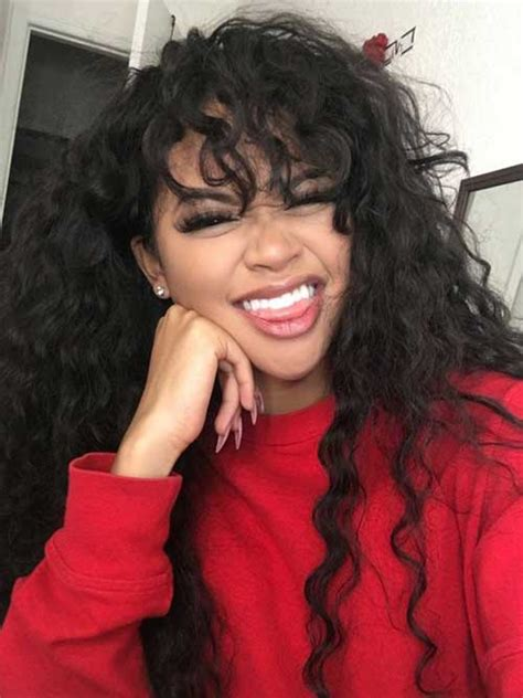 curly hair chinese bang black women attractive long hairstyles for black women long