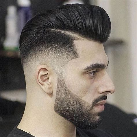 60s 70s high fade pomp mens haircut high fade pompadour with beard www pixshark com images