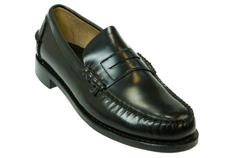 sebago classic mens black leather loafers shoes size 7 5
