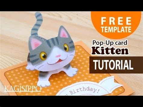 printable cat card template amazing pop up kitten card with template and tutorial