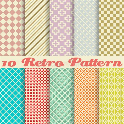 download pattern fills xlam ten retro different vector seamless patterns stock vector