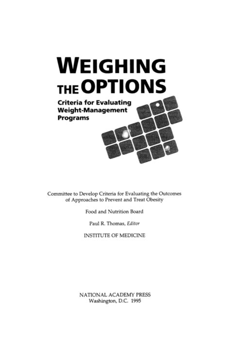 chapter 9 weight management test weighing the options criteria for evaluating weight