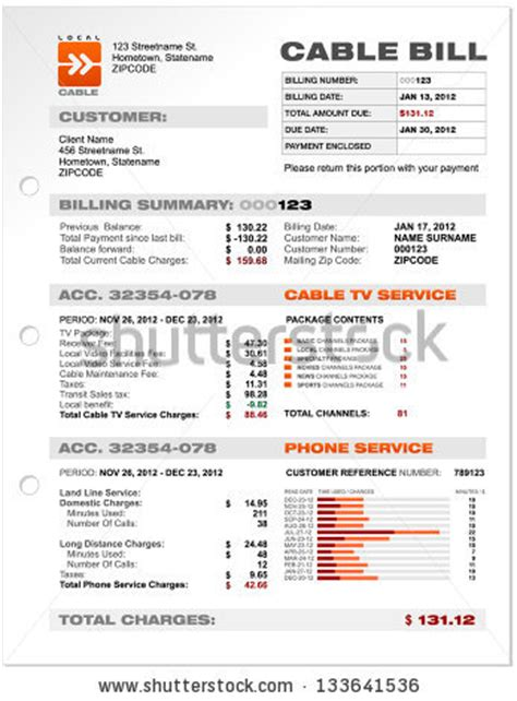 uk utility bill template cable tv stock photos images pictures