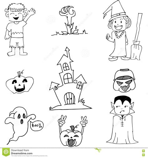 doodle ghost ghost and pumpkins in doodle stock vector