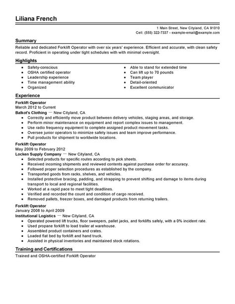 Resume Sample Objectives For Entry Level by Forklift Operator Resume Example Production Sample