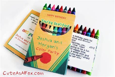 Art Party Invitations Crayon Invitation Template