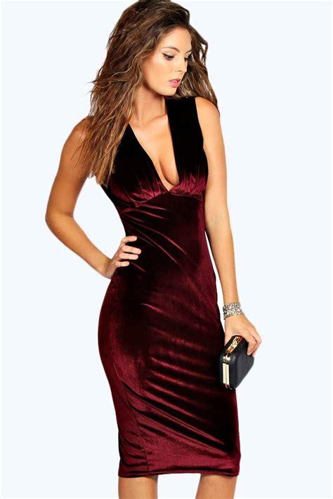 Velvet Mididress leanne pleated velvet midi dress at boohoo