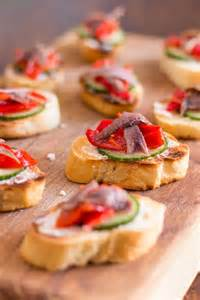 Hosting A Small Dinner Party - anchovy hors doeuvres with marinated roasted peppers easy party food recipe
