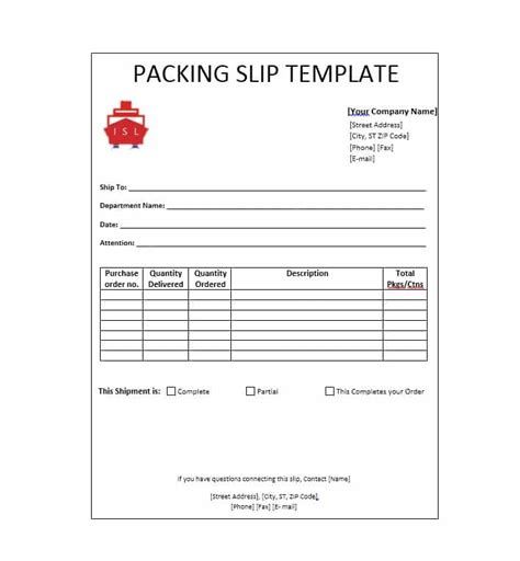 shipping packing list template for word excel