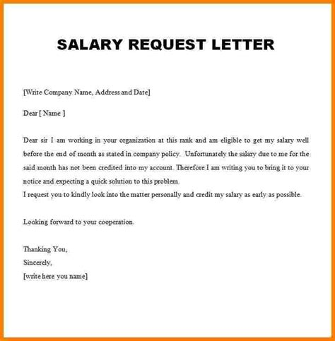 Appraisal Salary Increase Letter 6 request letter for increment of salary formats sales slip template