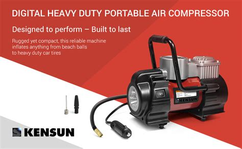 kensun portable travel multi use air compressor inflator with digital and