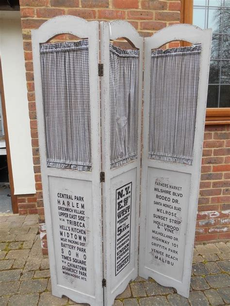 shabby chic painted 3 panel wood folding privacy screen