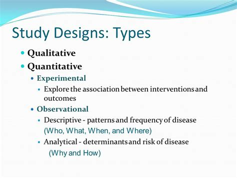 quantitative pattern definition study designs in epidemiology ppt download