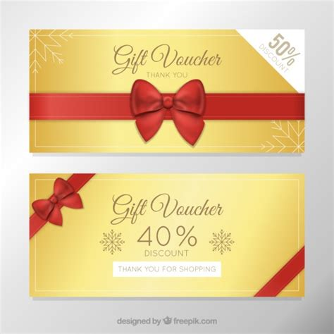 golden discount vouchers template vector free download