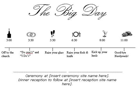 wedding ceremony timeline template 7 best images of program printable wedding day schedule
