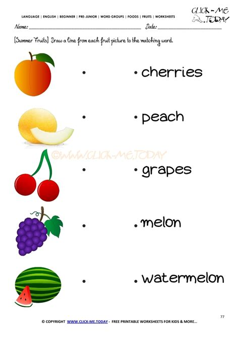 fruits worksheet 77 matching summer fruits names worksheet
