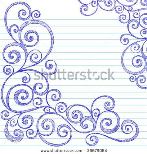 doodle paper sketchy doodles swirly border on lined notebook