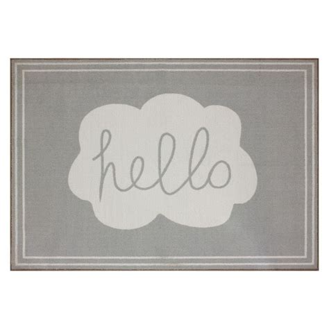 hello area rug circo quot hello quot area rug fog grey 4x6 nursery