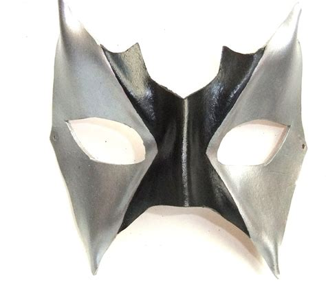 Handmade Leather Masks - genuine handmade leather black silver eye mask