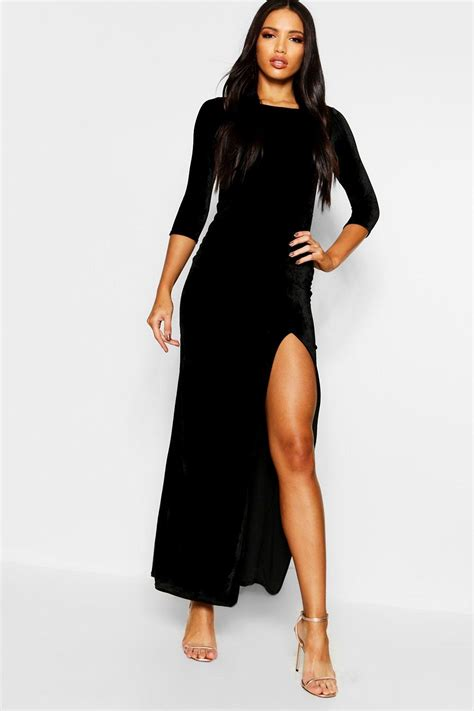 Sleeve Velvet Dress boohoo womens velvet sleeve maxi dress ebay