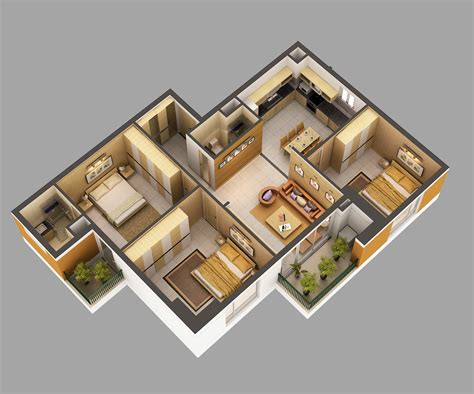 3d Model Home Interior Fully Furnished 3d Model Max House Plans With 3d Interior Images