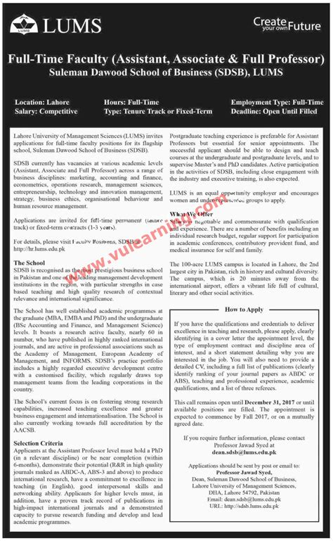 Lums Mba Criteria by Lums Lahore 2017 For Teaching Faculty Www