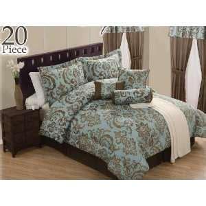 24 piece comforter set king pieces aqua blue and brown comforter set bedding in a bag