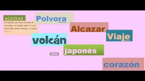 imagenes de palabras agudas con tilde clasificaci 243 n de las palabras seg 250 n el acento youtube