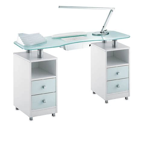 manicure desk with light manicure table wood glass vented for beauticians