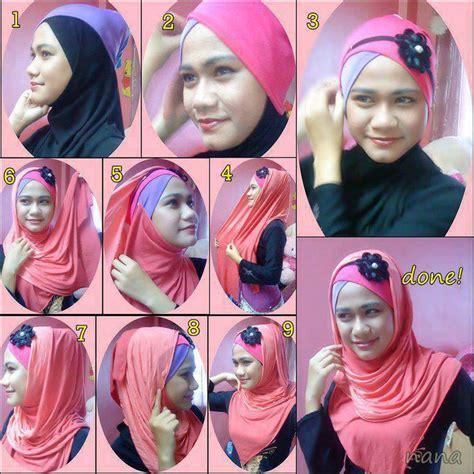 tutorial jilbab pesta lapis cara memakai pashmina bandana bunga