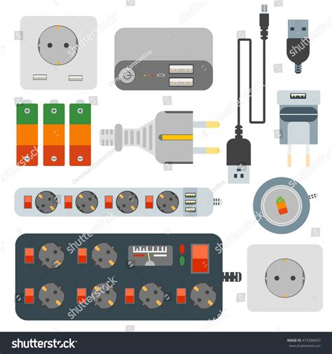 Outet Set power plugs electrical outlet power socket stock vector 473288053