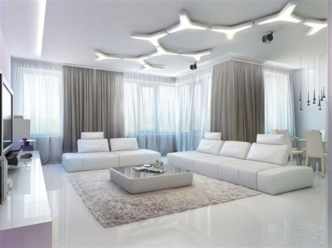 special living room three apartments with special lighting schemes