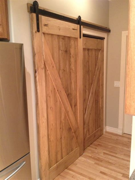 Folding Barn Doors His Custom Pantry Sliding Barn Door Awesome Replacement For Bifold Doors His