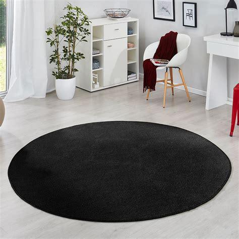 schwarzer runder teppich kurzflor uni velours teppich fancy einfarbig