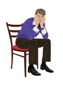 auf dem stuhl sitzt auf dem stuhl und denken stock vektor colourbox