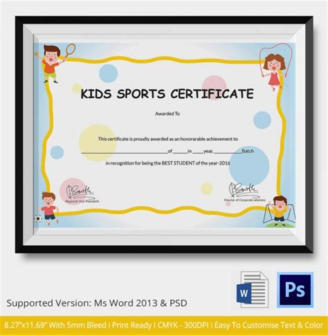 child certificate template sports certificate 5 word psd format