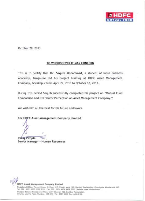 Mba Finance Internship In Hdfc Bank by Internship Certificate