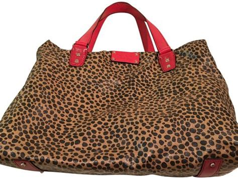 kate spade monogram canvas leopard leather shoulder bag
