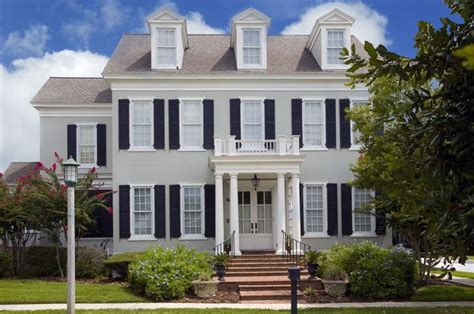 light grey house black shutters exterior paint colors grey black shutters and