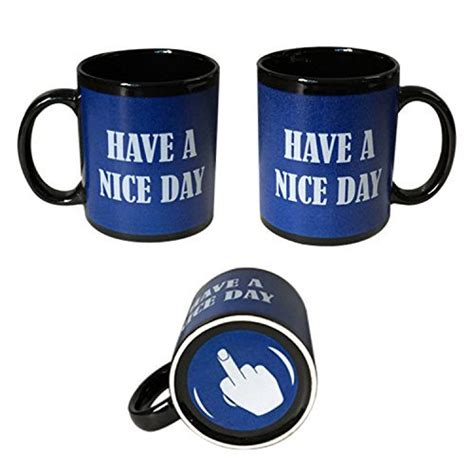 nice coffee cups blue have a nice day coffee mug middle finger funny cup