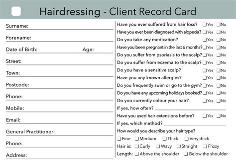 hairdressing client record card template sunbed client card treatment consultation card
