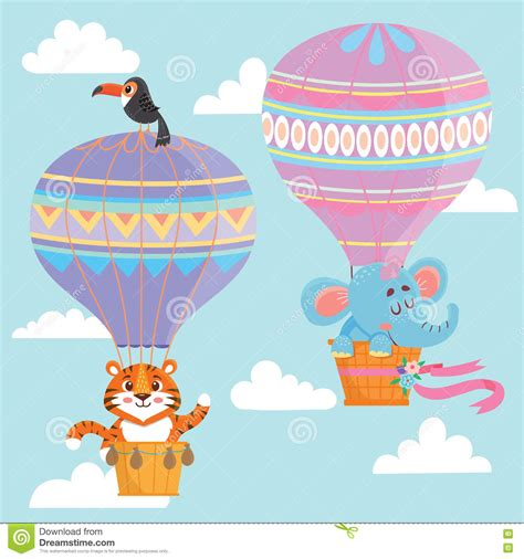 Hot air balloons with animals stock vector image 72493265