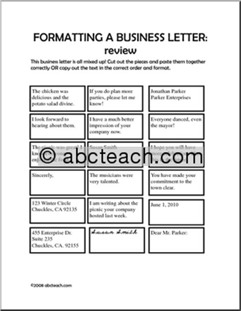 Business Letter Format Handout Worksheet Formatting A Business Letter Elem Middle Abcteach
