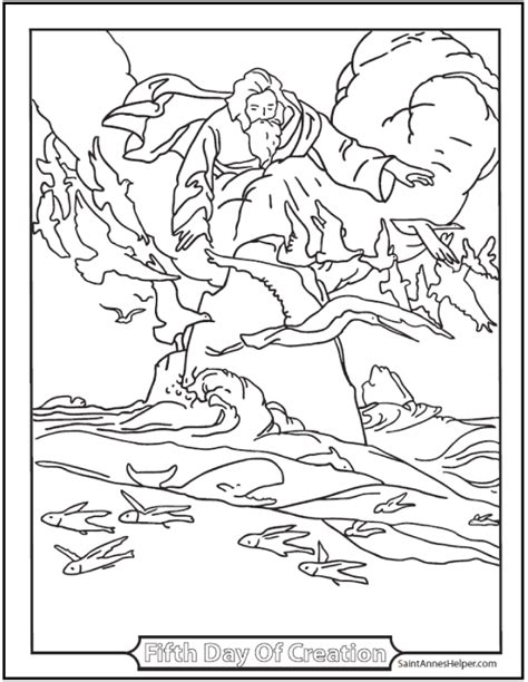 the seventh commandment twisty 1472242424 creation coloring pages god made fishes and birds