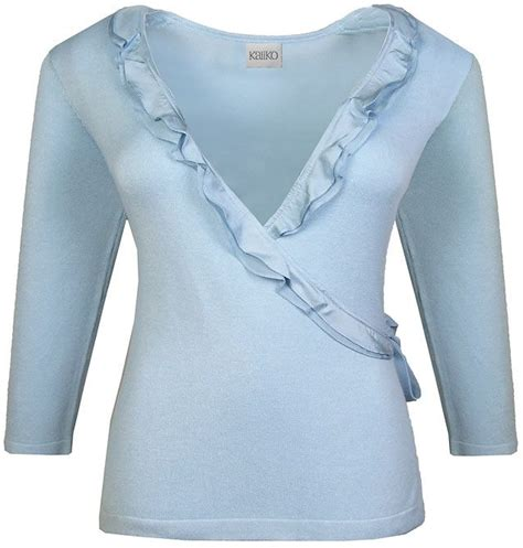 Cartexblanche Jumper Lightblue Limited kaliko sleeve frill wrap jumper light blue review compare prices buy