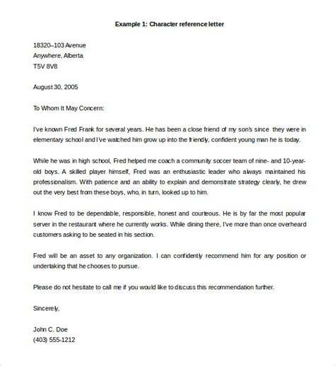 Letter Of Recommendation Template Doc reference letter template 49 free sle exle