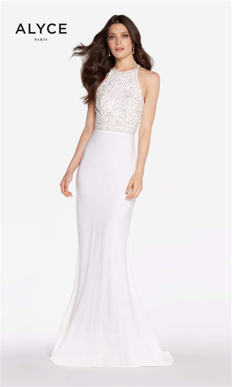 white prom dresses with diamonds alyce paris 60023 diamond white front prom dress images