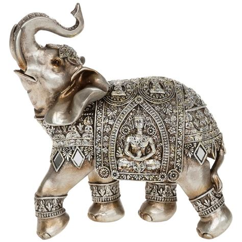 elephant decor silver elephant with engraved buddha ornament